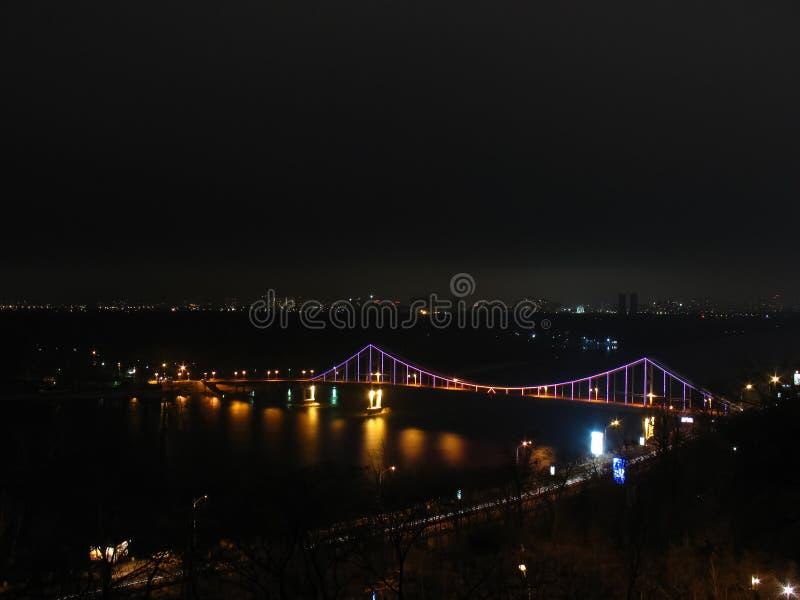 Pedestrian bridge in Kiev, Night royalty free stock images