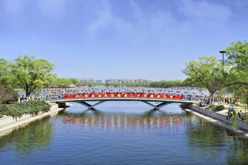 Pedestrian bridge in Kunming lake, Yuyuantan Park, Beijing, China. BEIJING-MARCH 30, 2014. Yuyuantan Park wit view on Kunming Lake. The history of Yuyuantan goes royalty free stock photography