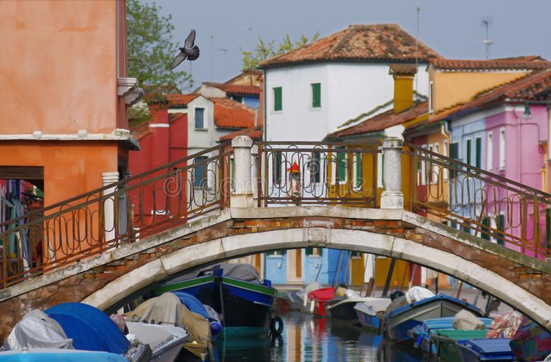 Pedestrian bridge over the canal between colorful houses in Burano stock photo