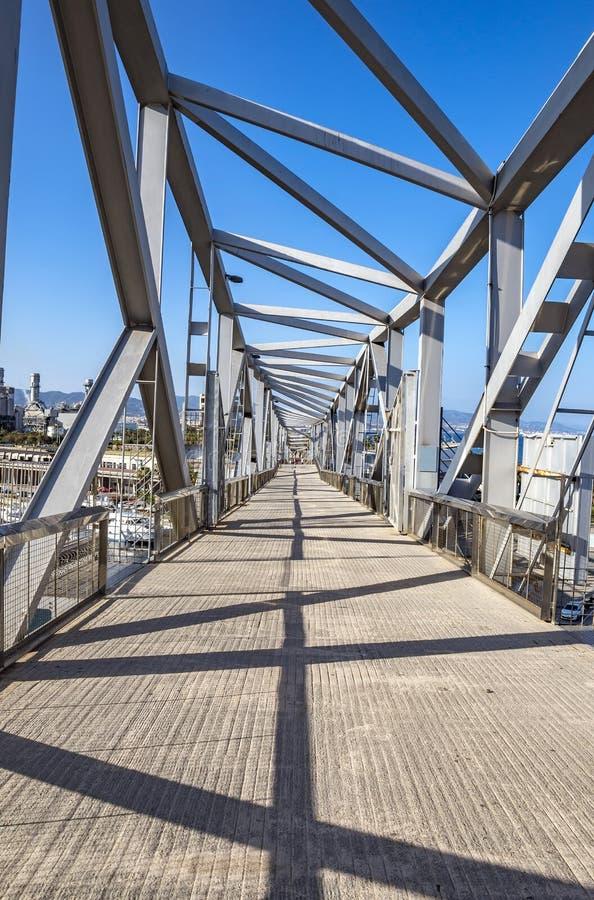 Pedestrian bridge in the Port Forum in Barcelona royalty free stock images