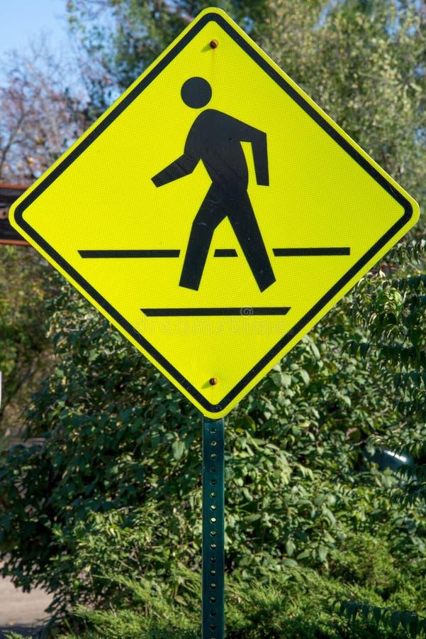 Pedestrian Cross Walk Street Sign. Street Sign warning traffic of a Pedestrian Cross Walk - Safety Road Signs stock photography