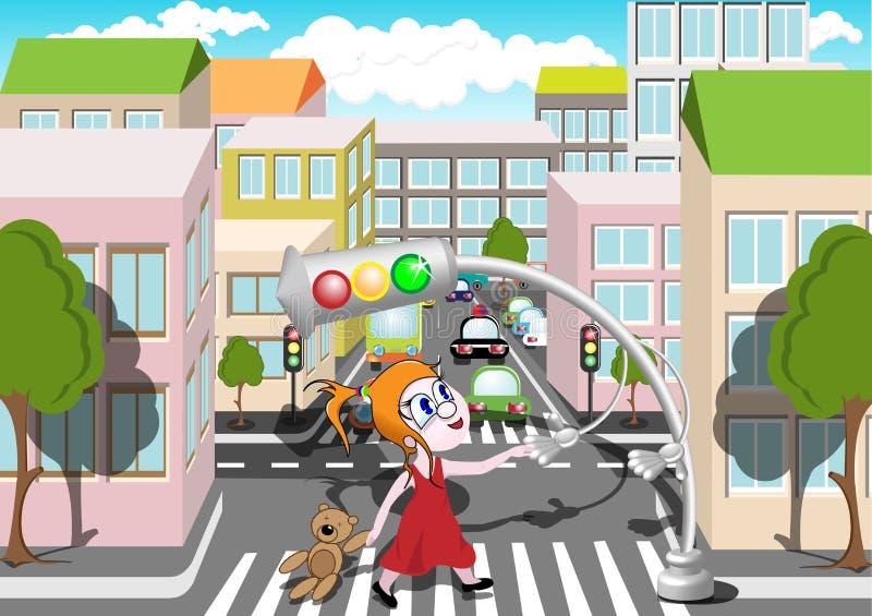 Pedestrian crossing royalty free illustration