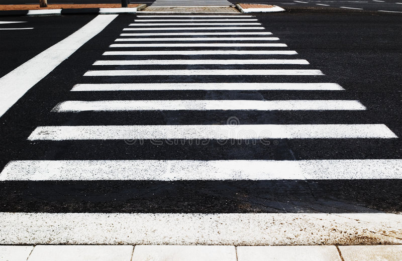 Pedestrian crossing. Empty pedestrian crossing in a city stock photography