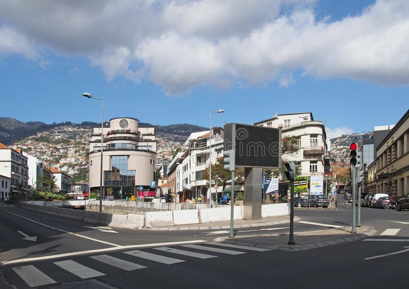 a pedestrian crossing as a road junction in funchal madeira royalty free stock photo