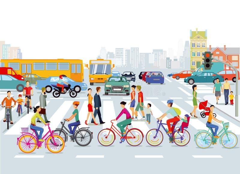 Pedestrian crossing on busy city road vector illustration