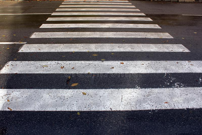 Pedestrian crossing in the city stock photography
