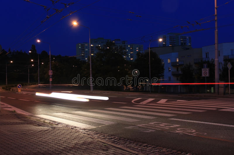 pedestrian crossing at night, Long exposure royalty free stock photography