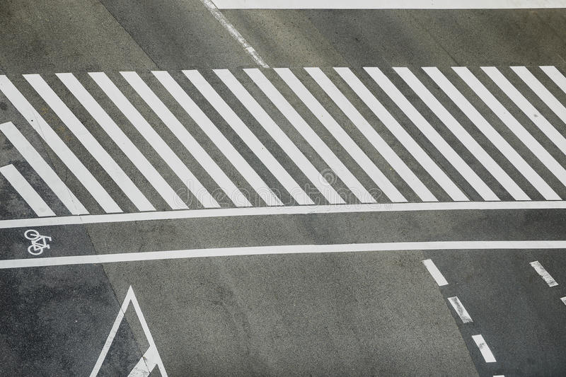 Pedestrian crossing. With road markings stock photos