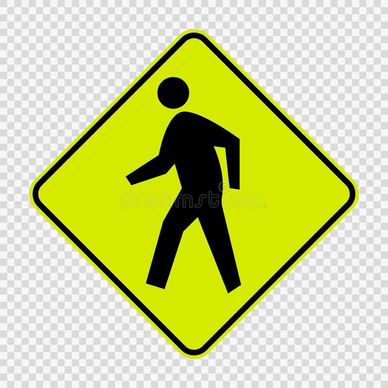 Pedestrian Crossing sign on transparent background vector illustration