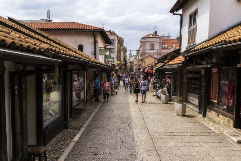 Pedestrian market area of Bascarsija in Sarajevo, Bosnia. Bascarsija, the old town, is a popular place for tourists to buy local. SARAJEVO / BOSNIA AND stock photo