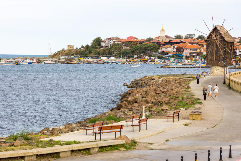 Pedestrian promenade in the old town of Nessebar in Bulgaria royalty free stock image