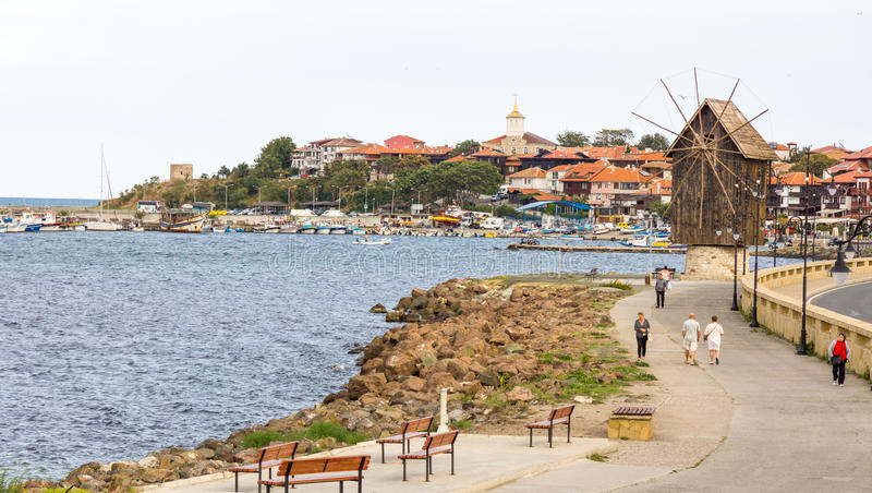 Pedestrian promenade in the old town of Nessebar, Bulgaria stock images