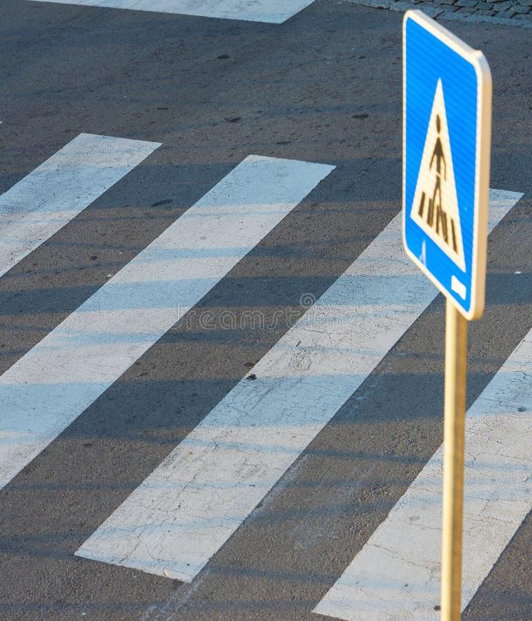 Pedestrian road crosswalk zebra sign royalty free stock photography