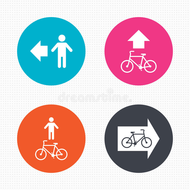 Pedestrian road icon. Bicycle path trail sign royalty free illustration