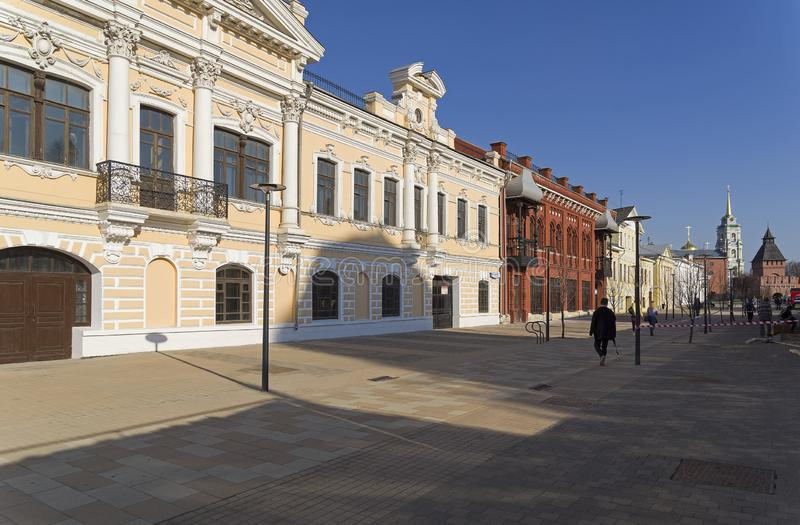 Pedestrian street in the downtown of Tula, Russia stock photos