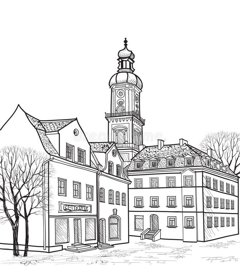 Pedestrian street in old town. Sketch perspective. Pedestrian street in the old european city with church on background. Historic city street perspective. Hand stock illustration