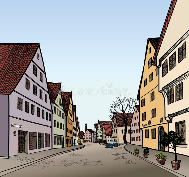 Pedestrian street in old town. Sketch perspective. Pedestrian street in the old european city with tower on the background. Historic city street. Hand drawn vector illustration