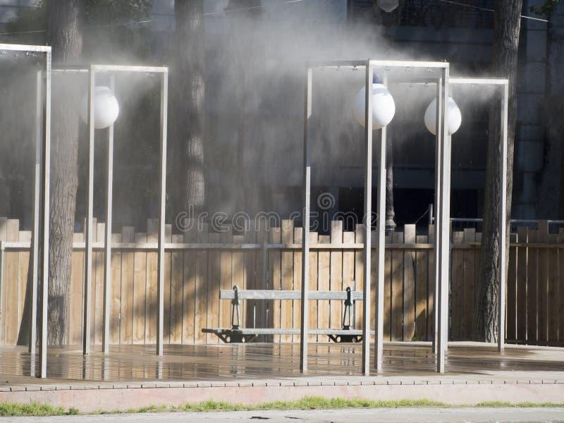 Pedestrian street sprinklers stock image