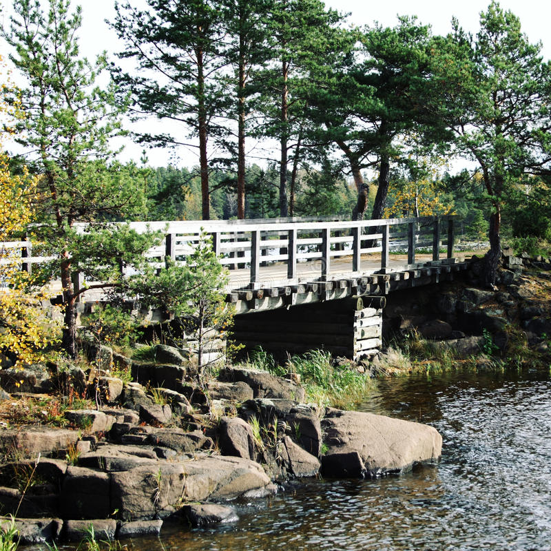 Pedestrian timber bridge on the Valaam island. royalty free stock image