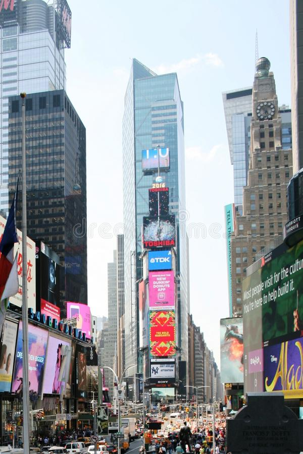 Pedestrian Times Square in New York in day. stock photos
