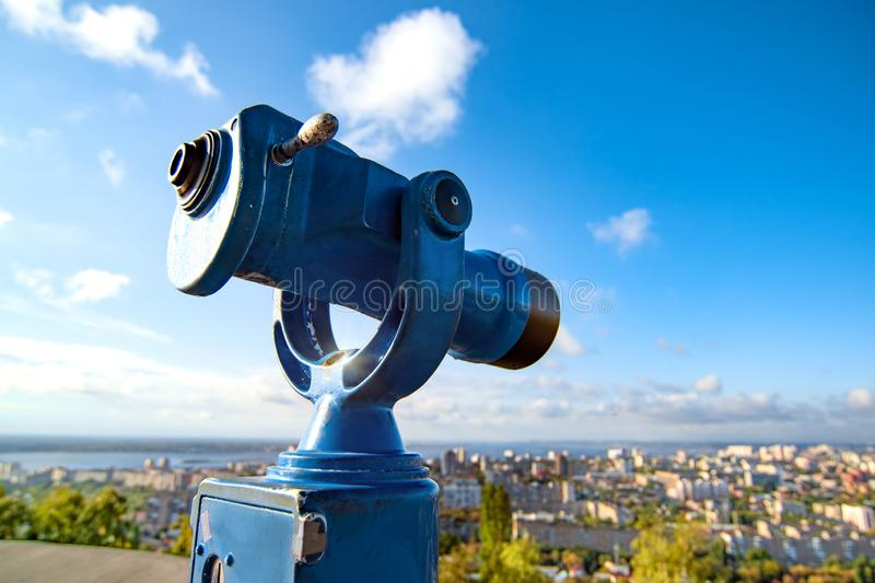 Pedestrian viewing area monoculars telescope for view amazing cityscape royalty free stock images