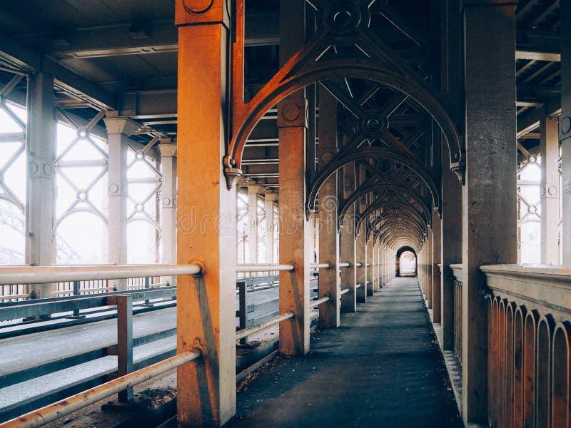 Pedestrian walk under High Level Bridge stock photo