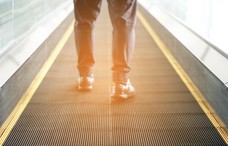 Pedestrian walking with zooming motion blur royalty free stock images