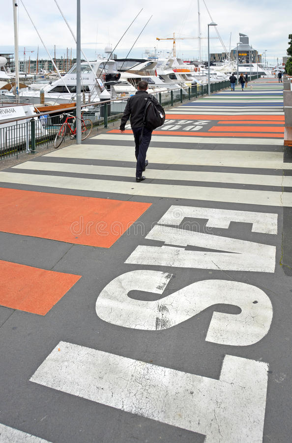 Pedestrian Walkway in the Viaduct Basin, Auckland, New Zealand royalty free stock photo