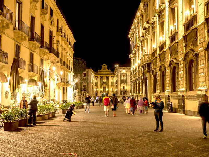 Pedestrian zone in the downtown in Catania, Italy at night stock images