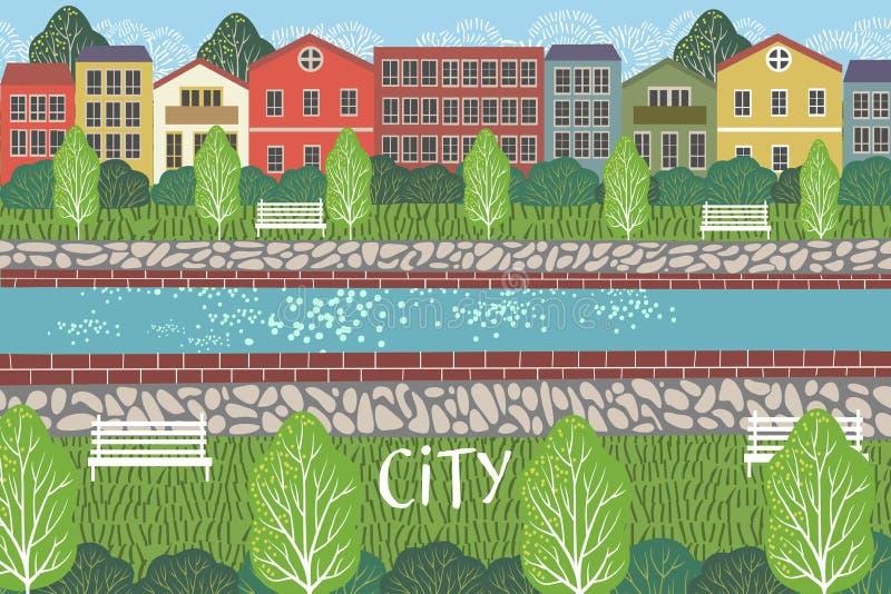 Pedestrianized ulica Ślicznego pejzażu miejskiego wektorowa ilustracja z rzeką, budynkami, domami i drzewami, Miastowy scena rysu ilustracji
