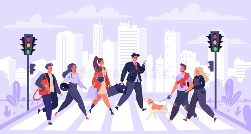 Pedestrians, сartoon flat people characters walking on city street. Men and women citizen hurry on urban background with skyscrapers, traffic lights and vector illustration