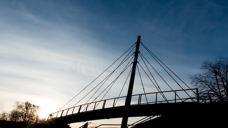 Pedestrians bridge, Aberdeen, Scotland. Pedestrians bridge during sunrise, Aberdeen, Scotland royalty free stock photography