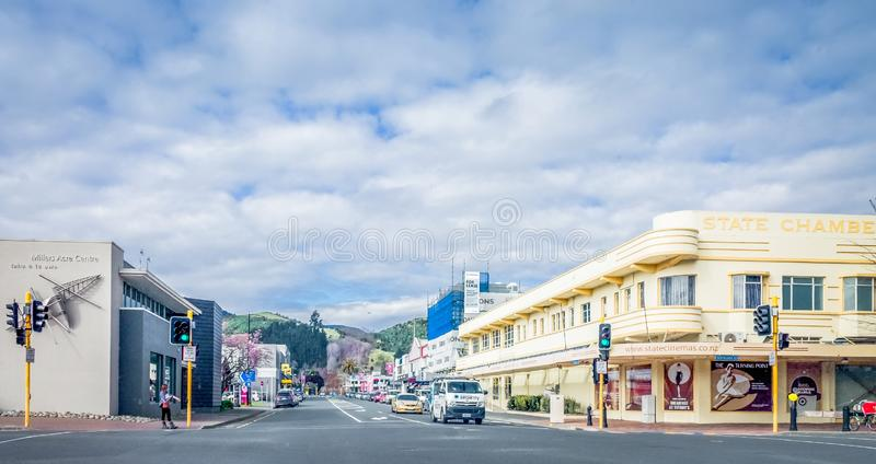 Pedestrians and commuters going about their day, Nelson, New Zealand. Nelson, New Zealand - August 24, 2017: Pedestrians and commuters going about their day at stock photo