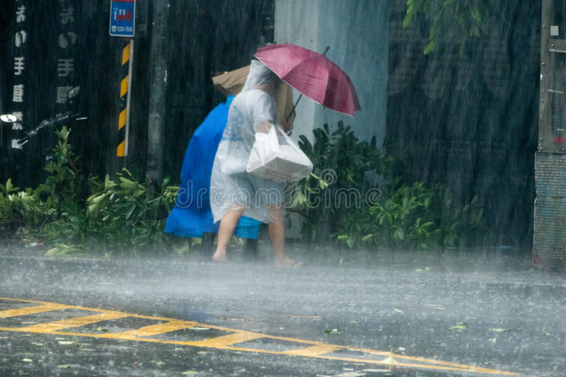 Pedestrians crossing street during Typhoon Megi. New Taipei City, Taiwan. September 27, 2016: Pedestrians struggling to cross street during Typhoon Megi royalty free stock photos