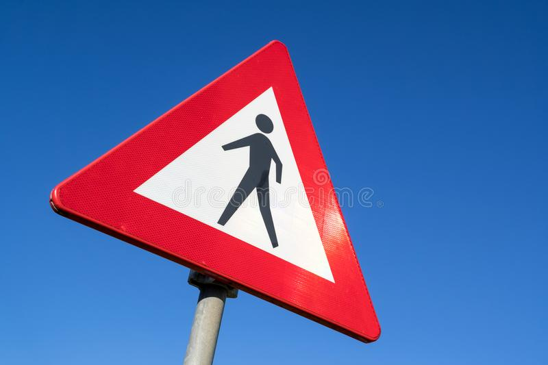 Pedestrians. Dutch road sign: pedestrians ahead royalty free stock photo
