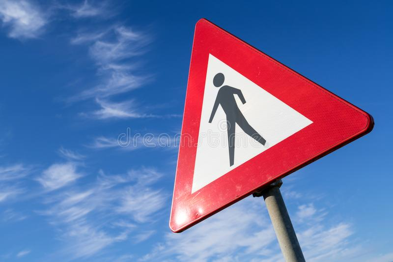 Pedestrians. Dutch road sign: pedestrians ahead stock photography