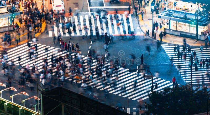 Pedestrians krzyżują Shibuya wspinaczki crosswalk w Tokio, Japonia fotografia royalty free