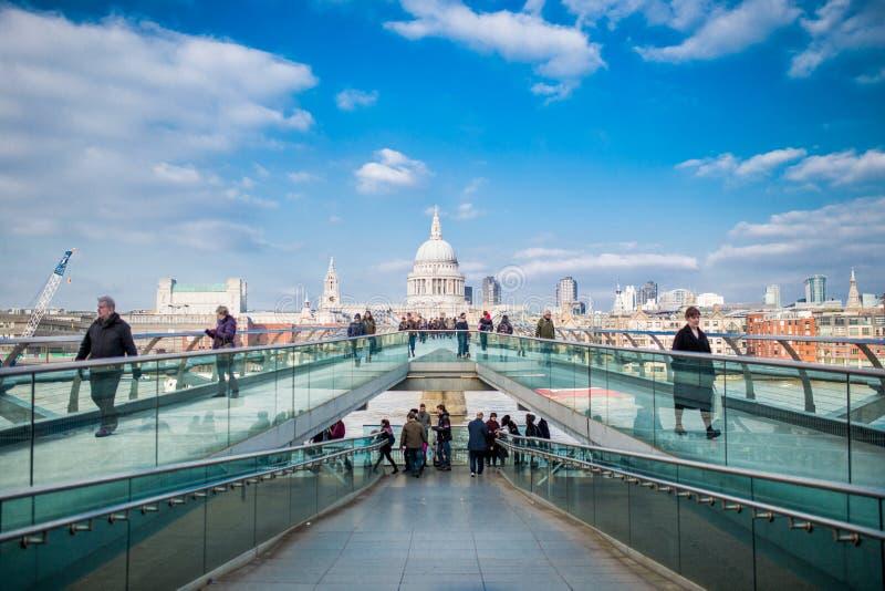 Pedestrians On Millennium Bridge, London, England Free Public Domain Cc0 Image