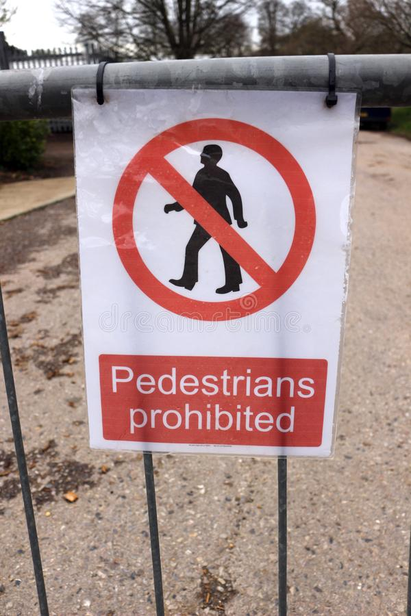 Pedestrians Prohibited. A Sign Warning that Pedestrians are Prohibited royalty free stock photo