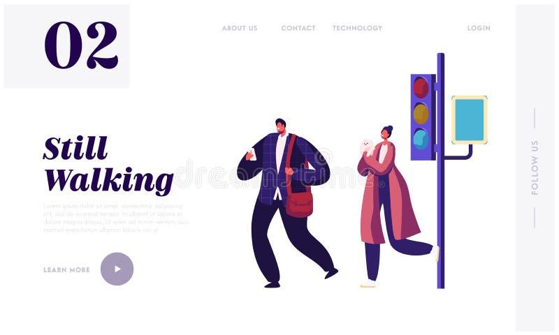 Pedestrians przy światła ruchu strony internetowej lądowania stroną, Fasonującym Przystojnym Biznesowym mężczyzną z Smartphone i  ilustracji
