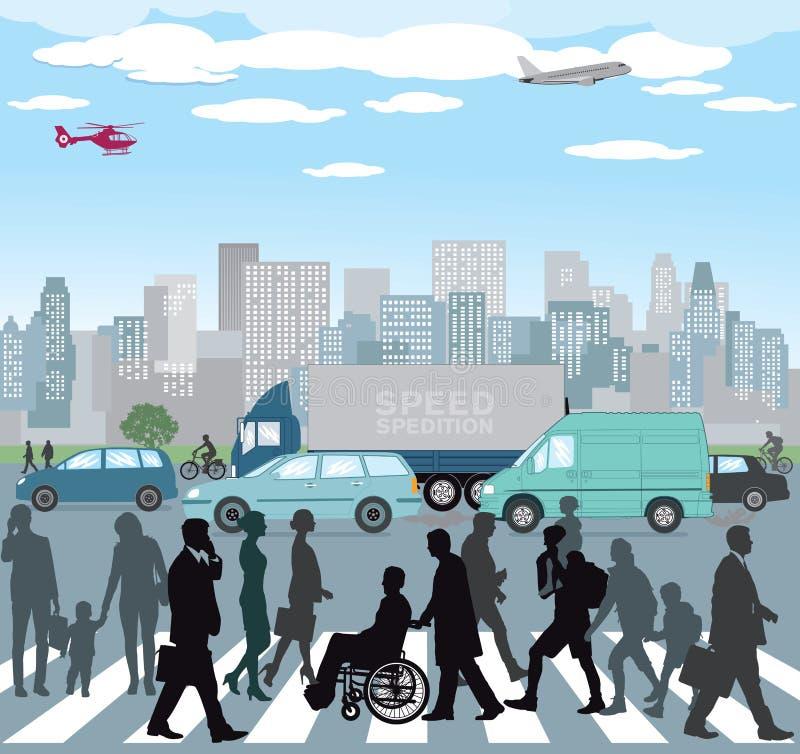 Pedestrians w miasto ruchu drogowym ilustracji