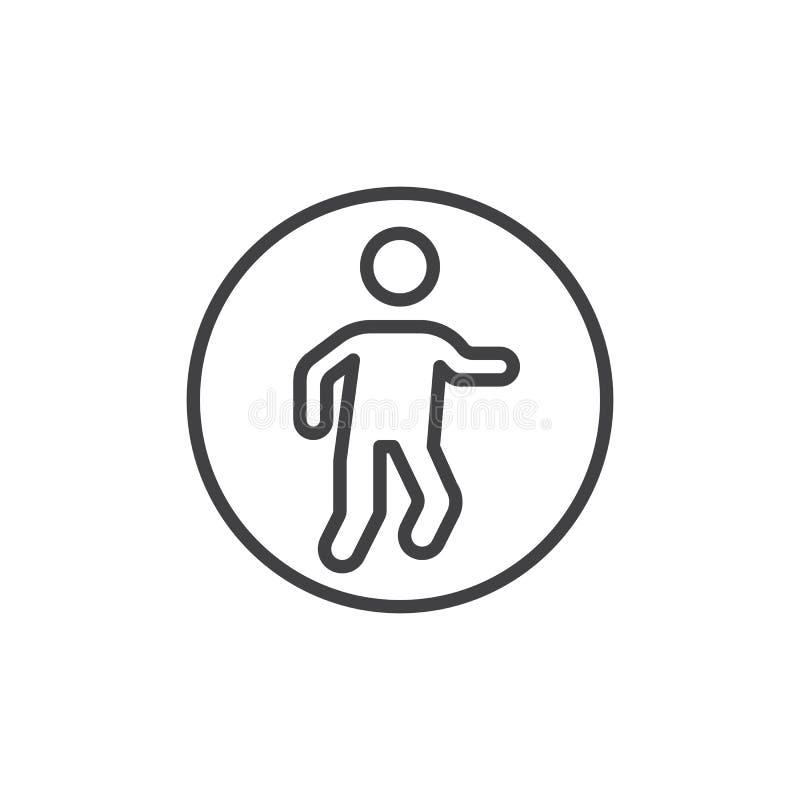 Pedestrians znaka linii ikona ilustracja wektor