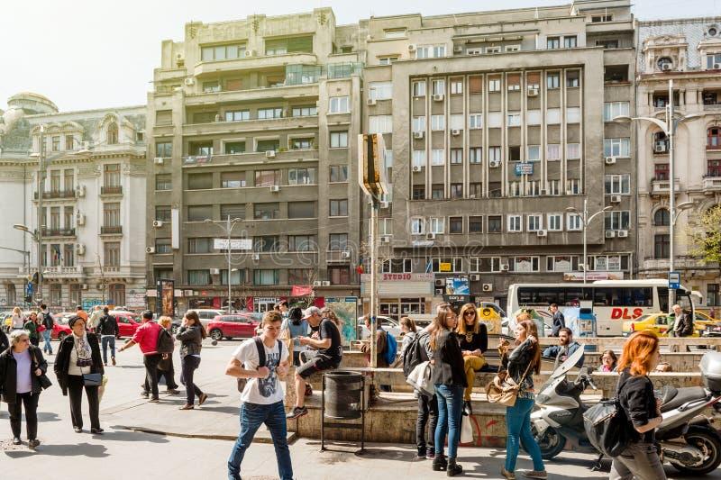 Pedestrinas in centraal Boekarest Bucuresti Roemenië royalty-vrije stock foto