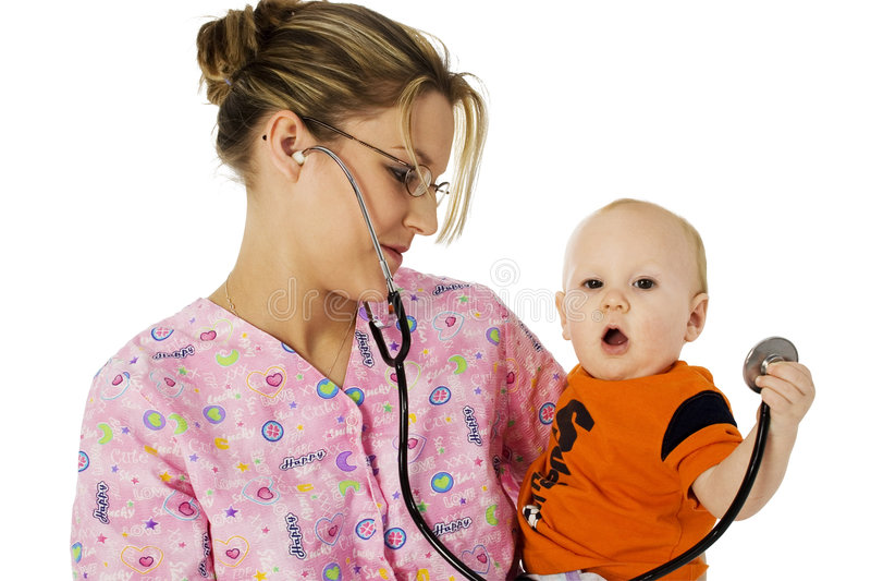 Pediactric Krankenschwester stockfotos