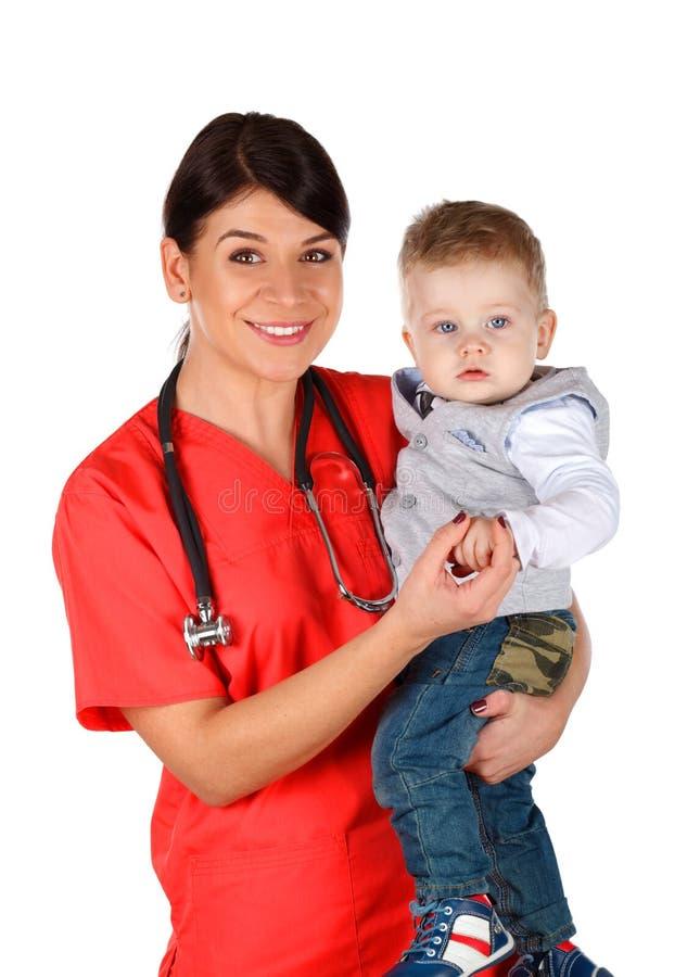 Pediater en kind stock foto's