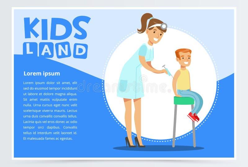 Pediatra de la mujer que da la inyección del muchacho en brazo stock de ilustración