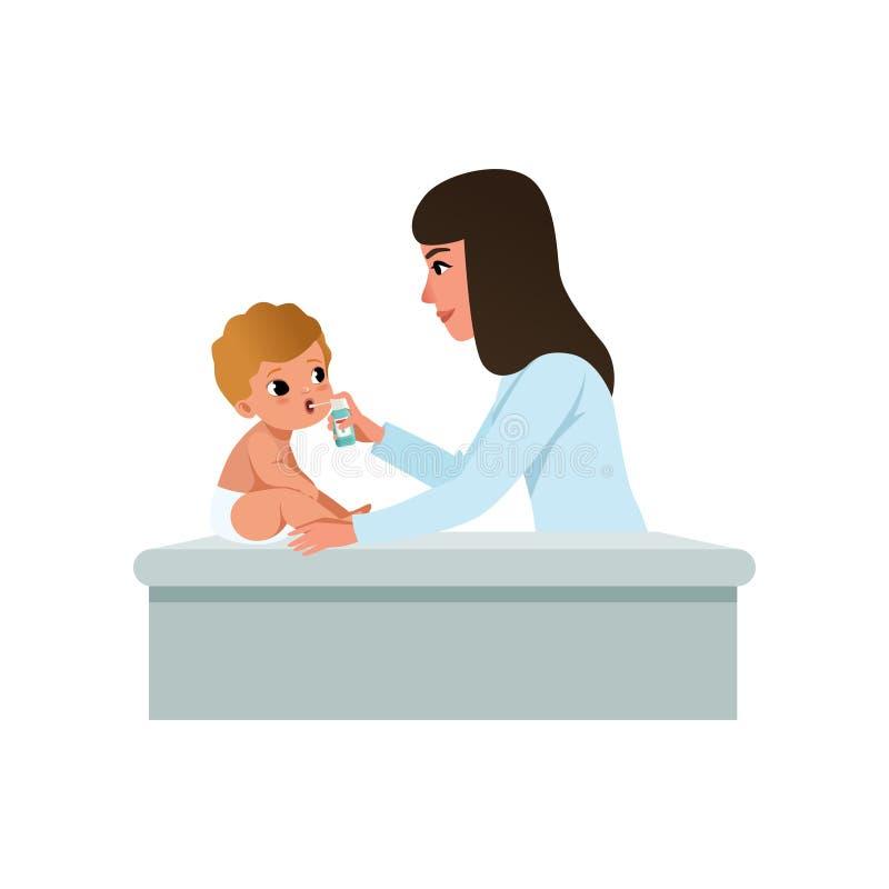 Pediatra de sexo femenino en la capa blanca que hace la inhalación al bebé infantil, tratamiento de la garganta dolorida, atenció libre illustration