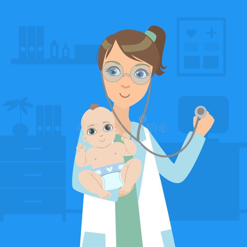 Pediatra de sexo femenino Examining Newborn Baby en clínica, el doctor Consulting Patient en el ejemplo médico del vector de la o libre illustration
