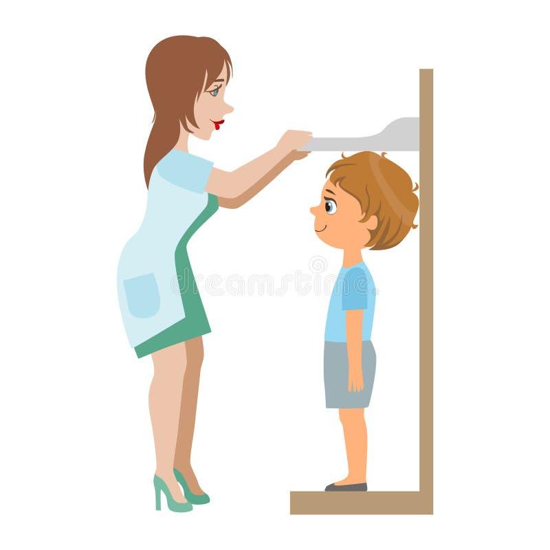 Pediatra Measuring Heights Of Little Boy, parte de niños que toman series del examen de la salud de ejemplos ilustración del vector