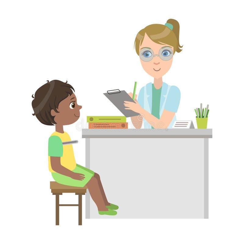 Pediatra Measuring Temperature Of Little Boy, parte de niños que toman series del examen de la salud de ejemplos libre illustration
